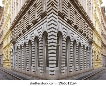 Rhythm in architecture of building.Abstract photography of facade building.