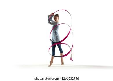 Rhythmic gymnast isolated on white