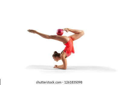 Rhythmic gymnast isolated on  white