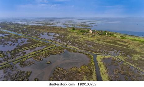 Ria da Murtosa. Murtosa River. Ria de Aveiro, Portugal. Canais da Ria. Ria channels