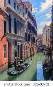 Ria de la Fava narrow canal alleyway, Venice, Italy from Sotoportego de la Bissa