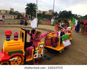 Riad Al Fath, Algiers, Algeria - April 7, 2018: Happy Algerian children in playgroung.