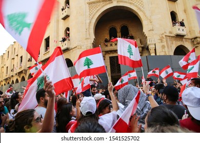 Riad El Soleh-Beirut, Lebanon - October 19, 2019: Lebanese Protesters against the current government, and against corruptions in the country
