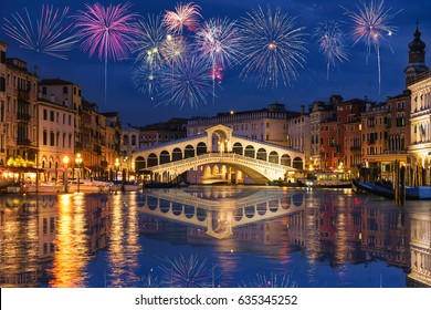 Rialto bridge and Garnd Canal with fireworks in Venice, Italy