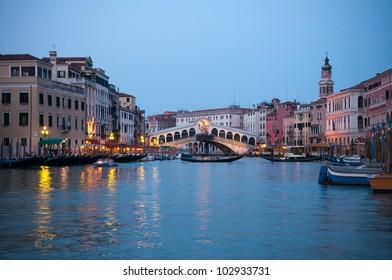 Rialto Bridge on the Grand Canal in Venice