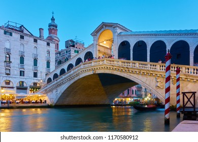 The Rialto Bridge in Venice in the evening, Italy