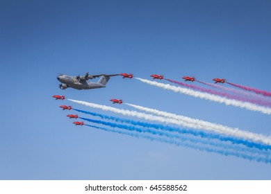RIAT Fairford, UK - July 21, 2013: Aircrafts on display during the Air Tattoo Show
