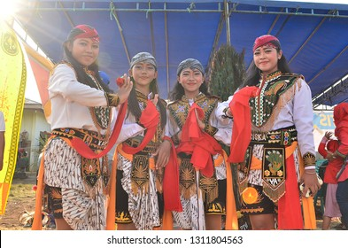 """RIAU, INDONESIA-FEBRUARY 13,2019 - Beautiful dancers who preserve the culture of Kuda Lumping in Pekanbaru, Conduct a photo together after the appearance of the traditional lumping horse dance."""