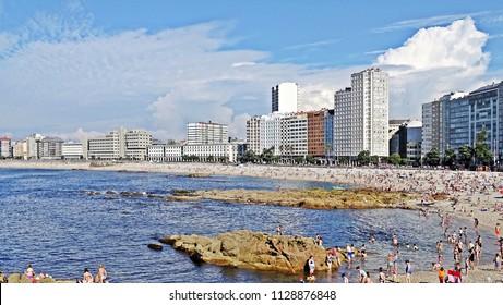 Riazor beach, in the center of the city of Coruna Coruna, Galicia, Spain 07/06/2018