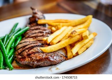 Rib eye steak served on white plate