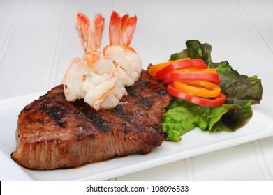 Rib Eye Steak and Shrimp.