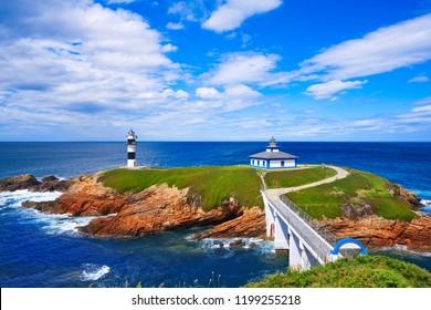 Ribadeo Illa Pancha Lighthouse island in Galicia of Spain