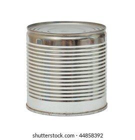 Ribbed aluminum can. Isolated over white.