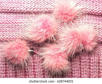 ribbed knit wool like texture with fur pompoms, textured knitted fabric knitted, Pattern Warm knitted women's clothes and accessories