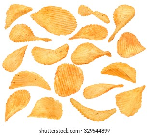 Ribbed potatoes snack collection with pepper isolated on white