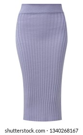 Ribbed-knit cotton-blend pencil skirt in beautiful lavender color isolated on white.