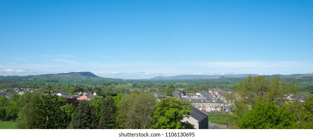 Ribble valley, Lancashire, panorama across Clitheroe