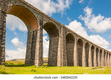 Ribble Valley Viaduct, North Yorks, UK - Circa August 2019: Famous Ribble Valley viaduct railway crossing showing detail of the stonework under-structure. Guttering and tile-work can be seen also.