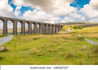 Ribble Valley Viaduct, North Yorks, UK - Circa August 2019: Famous Ribble Valley viaduct railway crossing seen in all its glory. Set in the heart of the Dales,  a number of paths can be seen.