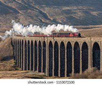 Ribblehead, North Yorkshire, England, February 24th 2018, Galatea steams across the Ribblehead Viaduct