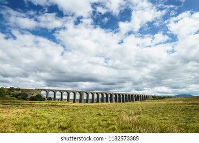 Ribblehead Viaduct carrying the Settle to Carlisle railway line across the Ribble Valley, Yorkshire Dales,UK. It is 400m long and 32 m high and was completed in 1875