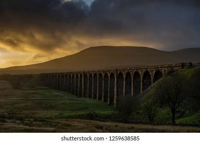 Ribblehead Viaduct, North Yorkshire, Yorkshire Dales, Sunrise, Clouds, Railway, Landscape, Grassland,  Ingleborough