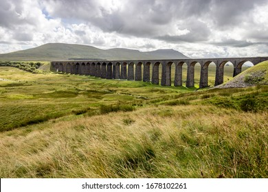 Ribblehead viaduct with views of the yorkshire moors and the three peaks