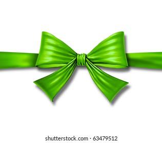 ribbon bow gift environment green silk tape box horizontal christmas package isolated