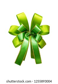 Ribbon bow green Stick on the gift box. (Isolated on white background and cipping path)