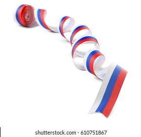 Ribbon in colors of Russian flag on white background