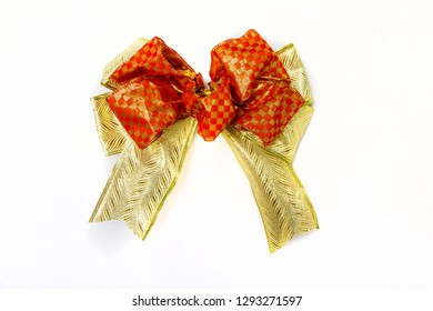 Ribbon gold & red bow, luxury style Gold gift bow for basket New Year gift