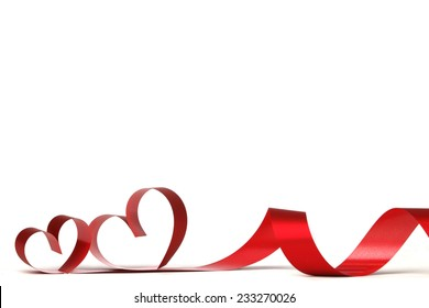 Ribbon hearts isolated on white frame, Valentines day design