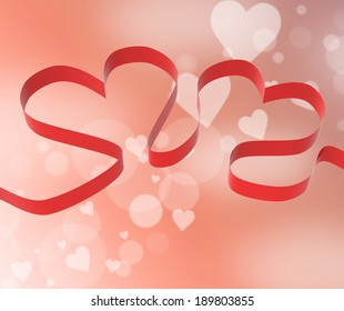 Ribbon Hearts Showing Anniversary Party Or Decorations