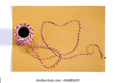 With a ribbon, red rope, white, envelope, meaning, love on a white background.