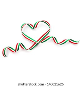 Ribbon Tape Shape Heart Valentine's Day isolated on white background
