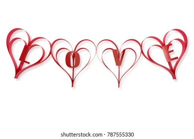 Ribbons of red interlace to form a special message of love for a special valentine message isolated on a white background with clipping path.