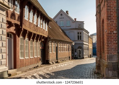 RIBE, DENMARK - MAY 7, 2017: Empty street  of old town on sunny sunday  on may 7, 2017 in Ribe, Denmark.