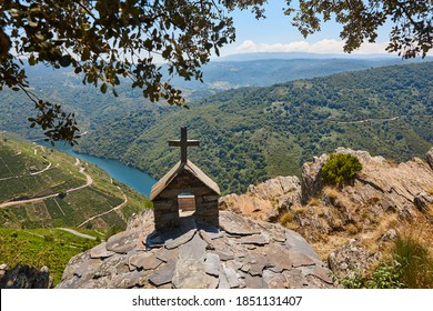 Ribeira sacra terrace vineyards in Galicia, Spain