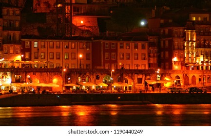 Ribeira view at night in Oporto, Portugal