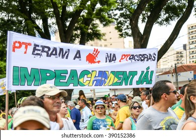 RIBEIRAO PRETO, BRAZIL - MARCH 13, 2016: anti-government protests in Brazil. People asking against corruption and demand impeachment of the brazilian president Dilma Rousseff.