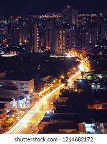 Ribeirao Preto city at night in long exposure. Famous downtown n