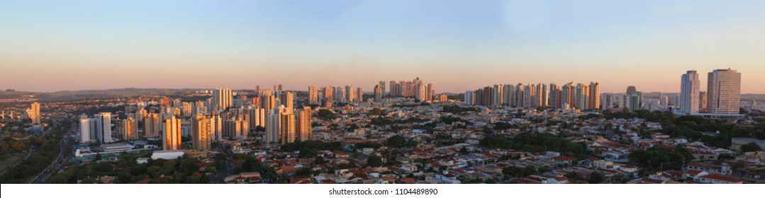 Ribeirao Preto city panoramic view skyline at sunset