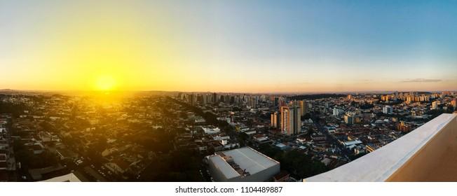 Ribeirao Preto city view skyline at sunset