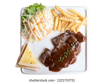 Ribeye Steak with Gravy on white background