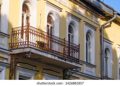 Ribinsk, Russia - June, 9, 2019: balcony on a wall of an old house in Ribinsk, Russia