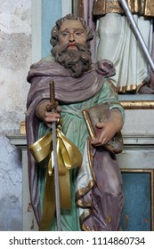 RIBNICKI KUNIC, CROATIA - JULY 02: Saint Paul, statue on the altar in Saint Catherine of Alexandria church in Ribnicki Kunic, Croatia on July 02, 2016.