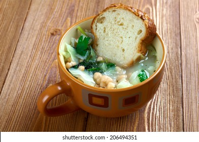 Ribollita famous Tuscan soup, a hearty potage made with bread and vegetables