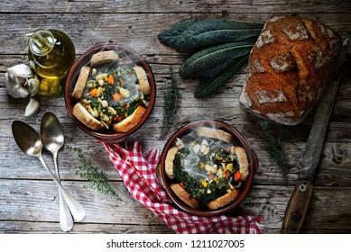 Ribollita steaming - typical Tuscan dish - Italy