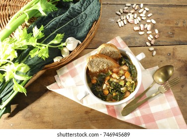 Ribollita tuscany, typical rustic Tuscan soup served in a ceramic bowl