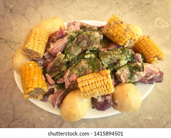ribs with corn pineapple and stewed potatoes